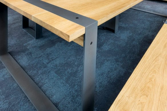 Haag Table Raw Steel Frame Close Up