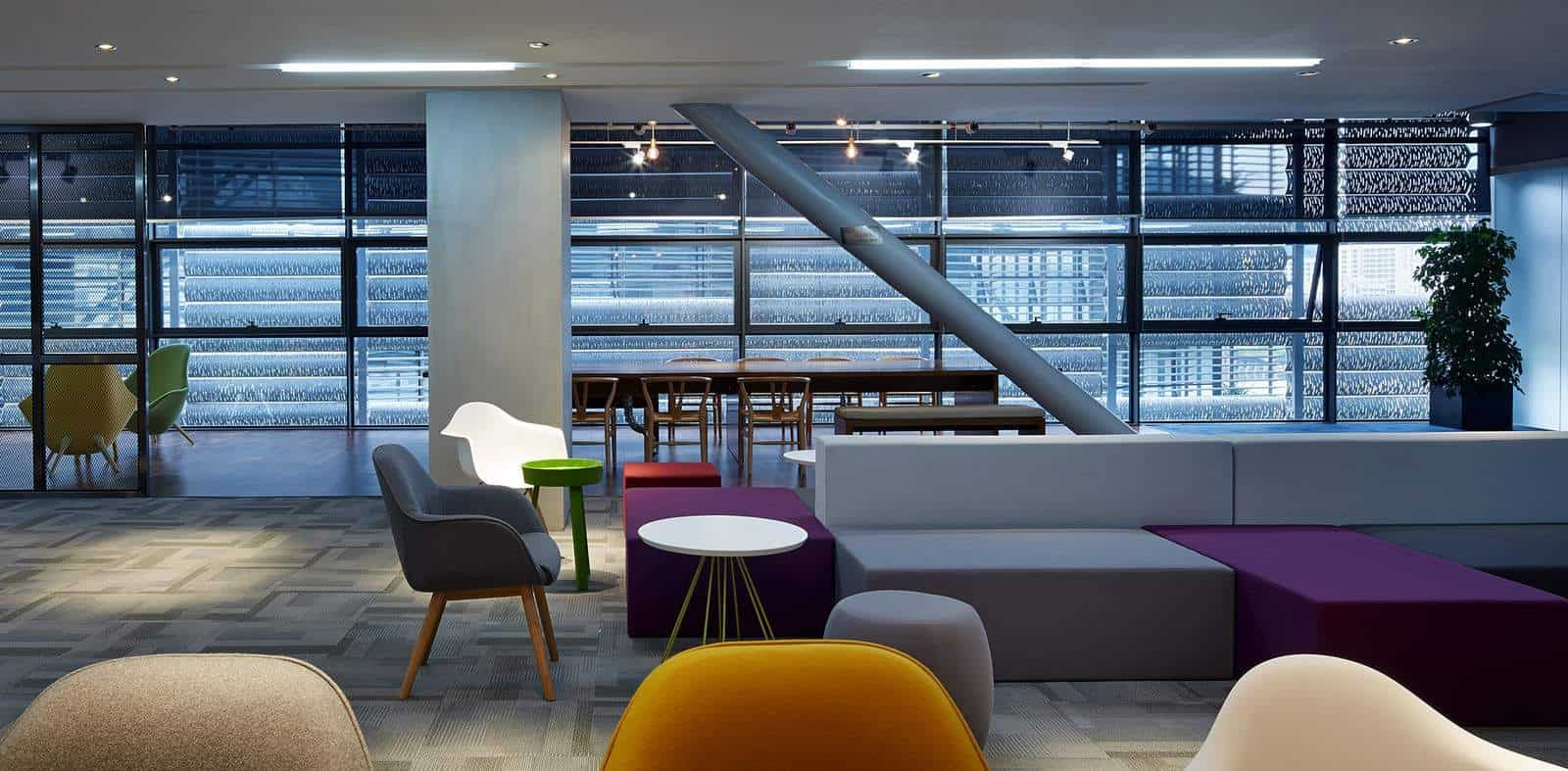 Break out area with multicoloured block seating