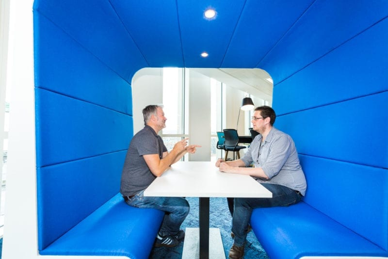 Snug Meeting Booth finished in Marymont Upholstery