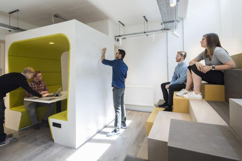 Engaged employees having a design meeting