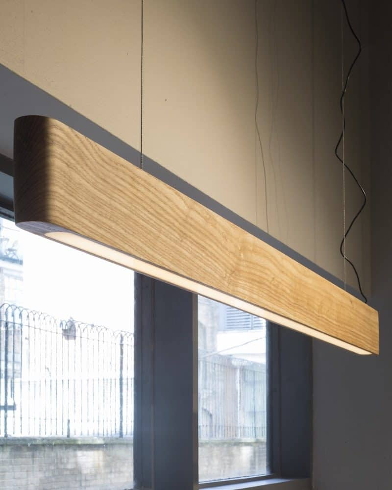 Forbi lighting shown suspended from ceiling