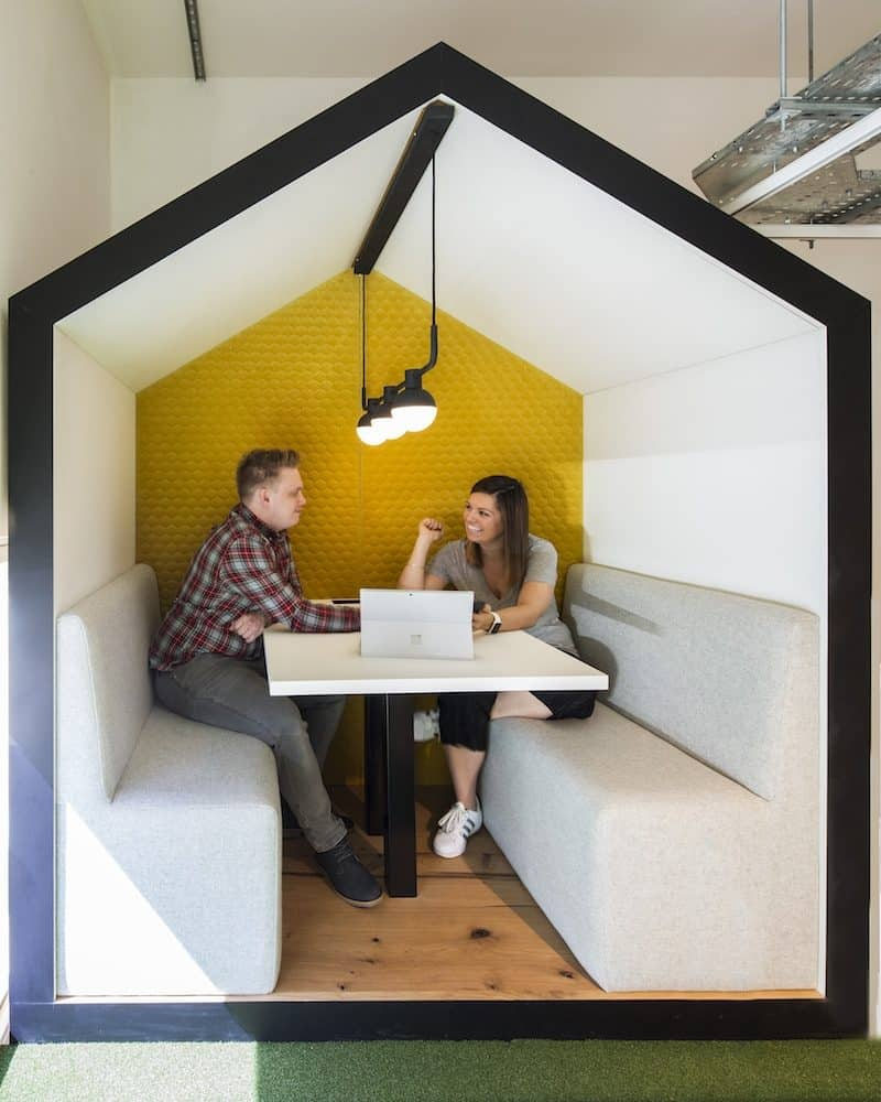 Close up of shack meeting booth in use