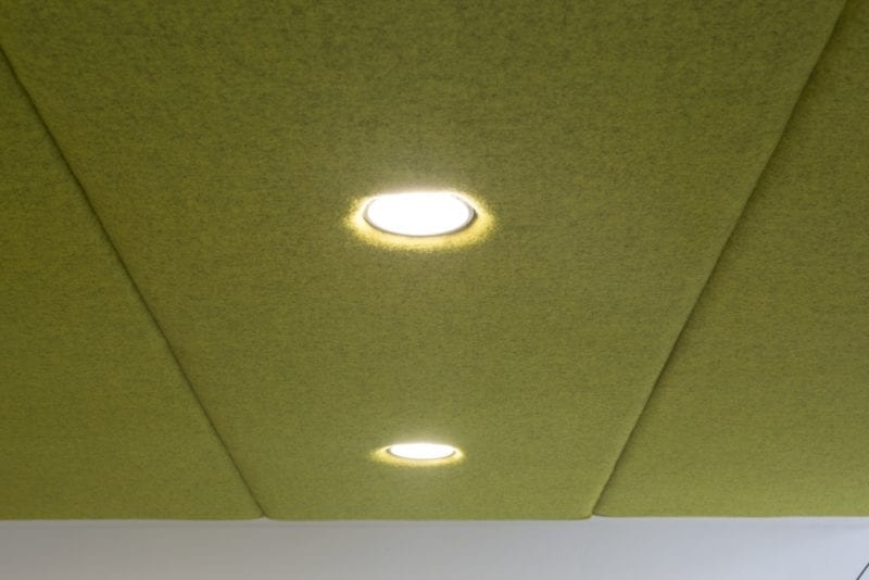 Close up of overhead lighting in Snug meeting booth